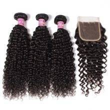 Curly Human Hair Weaves with Closure