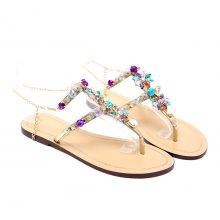 Woman 6 Color Sandals With Rhinestones and Chain